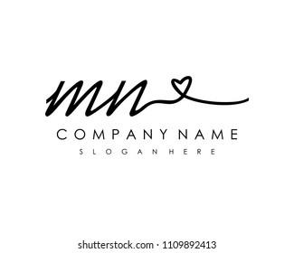 M N Initial handwriting logo vector