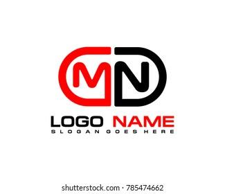 M N initial logo template vexctor