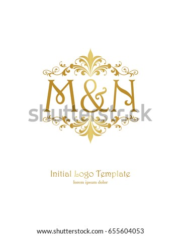 m n initial wedding logo template stock vector royalty free