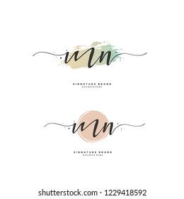 M N MN Initial logo template vector