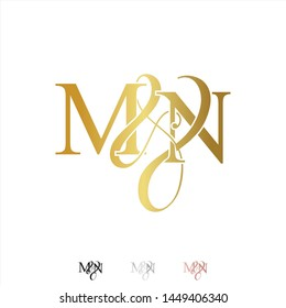 M & N / MN logo initial vector mark. Rose gold. gold. silver color.