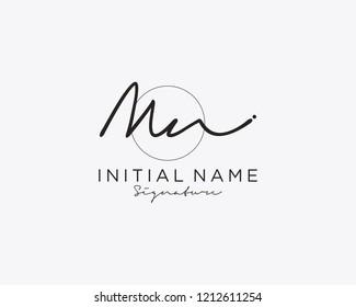 M N Signature initial logo template vector