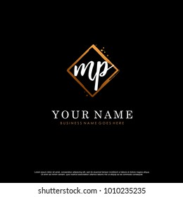 M P Initial abstract logo template vector