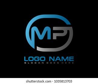 M P Initial circle logo template vector