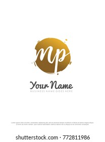 M & P initial splash logo template vector