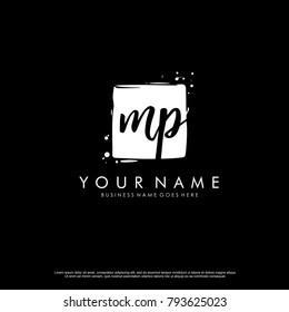 M P initial square logo template vector