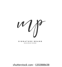 M P MP Initial letter handwriting and  signature logo concept design