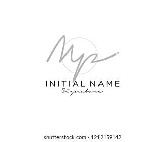 M P Signature initial logo template vector