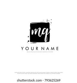 M Q initial square logo template vector