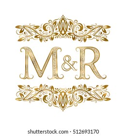 M and R vintage initials logo symbol. The letters are surrounded by ornamental elements. Wedding or business partners monogram in royal style.