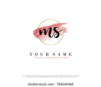 M S Initial water color logo template vector