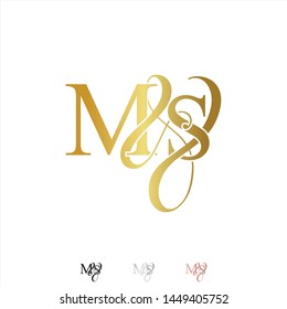 M & S / MS logo initial vector mark. Rose gold. gold. silver color.