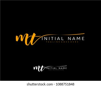 M T Initial handwriting logo vector. Hand lettering for designs.