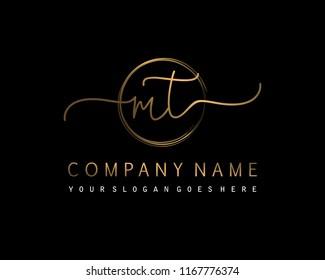 M T Initial handwriting logo vector