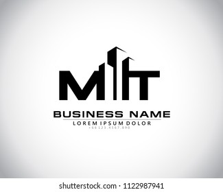 M T Initial logo concept with building template vector.