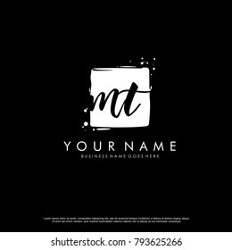 M T initial square logo template vector