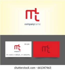 M T joint logo letter design with business card template
