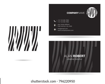 M & T joint logo waves line letter design with business card template