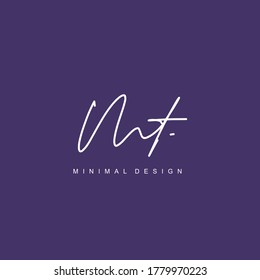 M T MT Initial handwriting or handwritten logo for identity. Logo with signature and hand drawn style.
