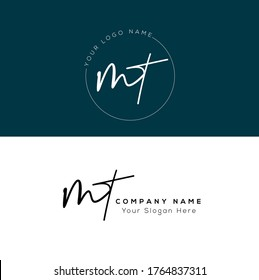 M T MT  Initial letter handwriting and signature logo.