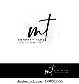 M T MT Initial letter handwriting and signature logo. Beauty vector initial logo .Fashion, boutique, floral and botanical