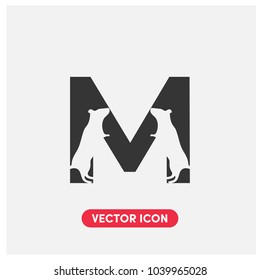 """M"" Typographic Vector Icon Illustration.Mouse Logo"