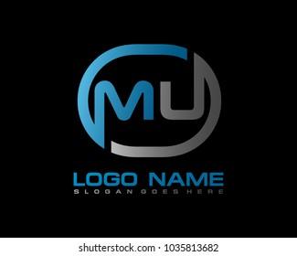 M U Initial circle logo template vector