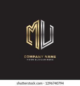 M U initial letter, modern logo design template vector
