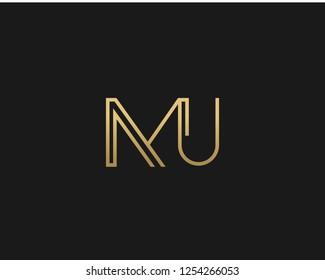 M U Initial logo template vector