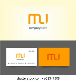 M U joint logo letter design with business card template