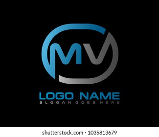 M V Initial circle logo template vector