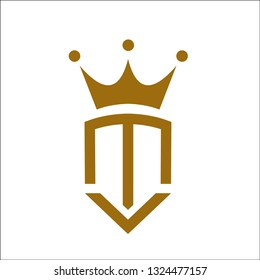 m and v king logo design.