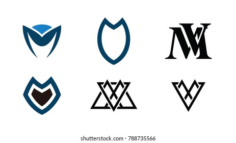 M V logo design template. Set of M V logo Icon
