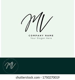 M V MV  Initial letter handwriting and signature logo. - Shutterstock ID 1750270019