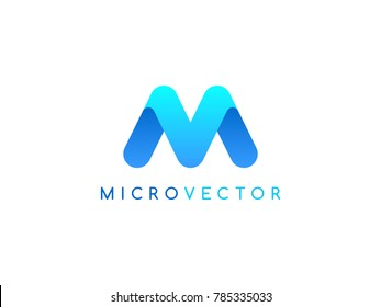 M V round letter logo design template. Letters V and M on white background. Creative minimal vector emblem. Graphic Alphabet Symbol for Corporate Business Identity. Vector element