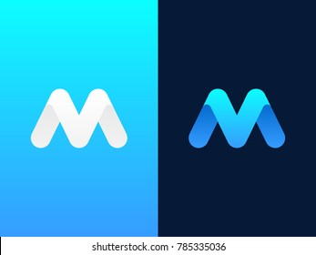 M V round letter logo design template. Letters V and M on different backgrounds. Creative minimal vector emblem. Graphic Alphabet Symbol for Corporate Business Identity. Vector element