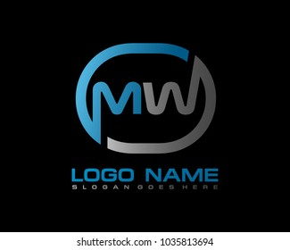 M W Initial circle logo template vector