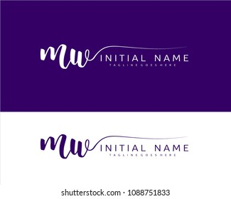 M W Initial handwriting logo vector. Hand lettering for designs.