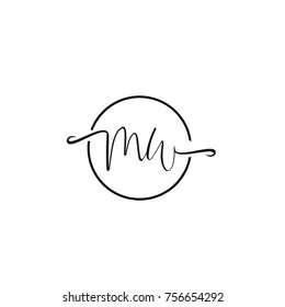 m and w letter vector logo template