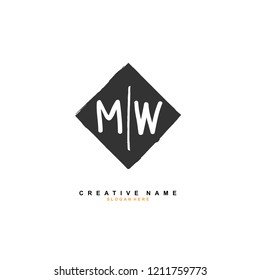 M W MW Initial abstract logo concept vector