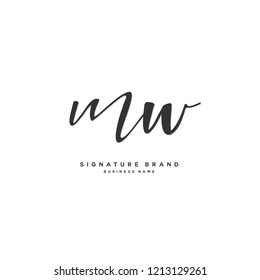 M W MW Initial letter handwriting and  signature logo concept design