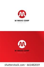 M wave corporation logo template.