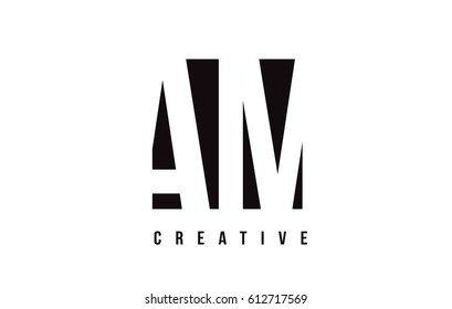 AM A M White Letter Logo Design with Black Square Vector Illustration Template.