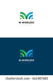 M Wireless logo template.
