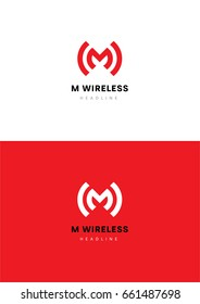 M Wireless logo template.