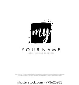 M Y initial square logo template vector