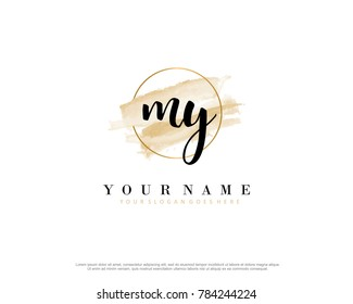 M Y Initial water color logo template vector