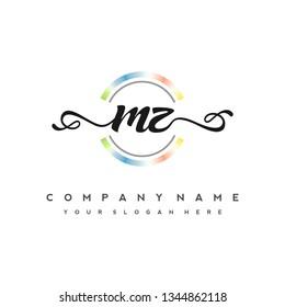 M Z Initial handwriting logo vector