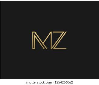M Z Initial logo template vector