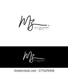 M Z MZ Initial letter handwriting and signature logo.